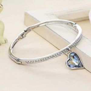 Brand new crystal heart bangle bracelet